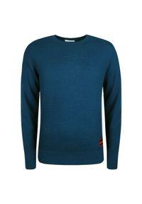 Sweter Calvin Klein z aplikacjami, z kontrastowym kołnierzykiem, casualowy