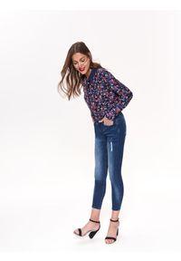 Niebieskie spodnie TOP SECRET w kolorowe wzory, na lato, casualowe, na co dzień