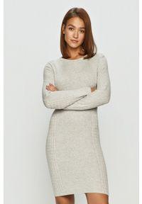 TALLY WEIJL - Tally Weijl - Sukienka. Kolor: szary. Materiał: dzianina. Długość rękawa: długi rękaw. Typ sukienki: dopasowane