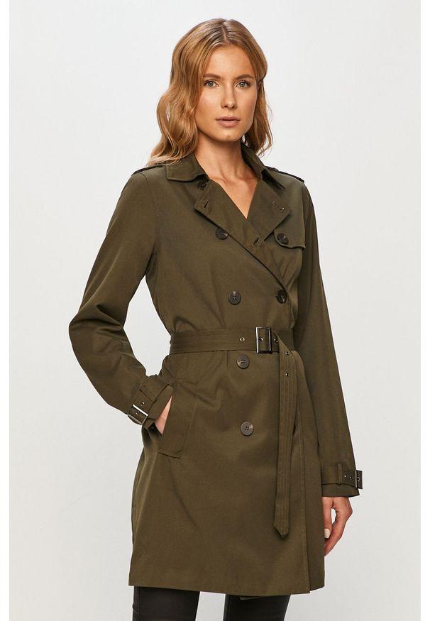 Zielony płaszcz Vila casualowy, na co dzień, bez kaptura