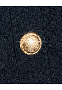 Balmain - BALMAIN - Granatowa spódnica midi. Okazja: do pracy, na spotkanie biznesowe. Kolor: niebieski. Materiał: bawełna. Wzór: aplikacja. Styl: biznesowy, klasyczny