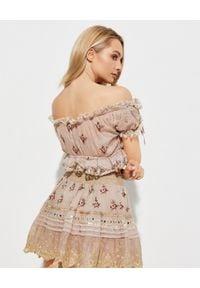 GADO GADO - Haftowany top Gypsy Bouqu. Kolor: beżowy. Materiał: koronka, bawełna. Wzór: haft