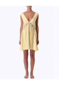Żółta sukienka mini Ermanno Firenze z aplikacjami, z dekoltem na plecach, prosta, na wiosnę