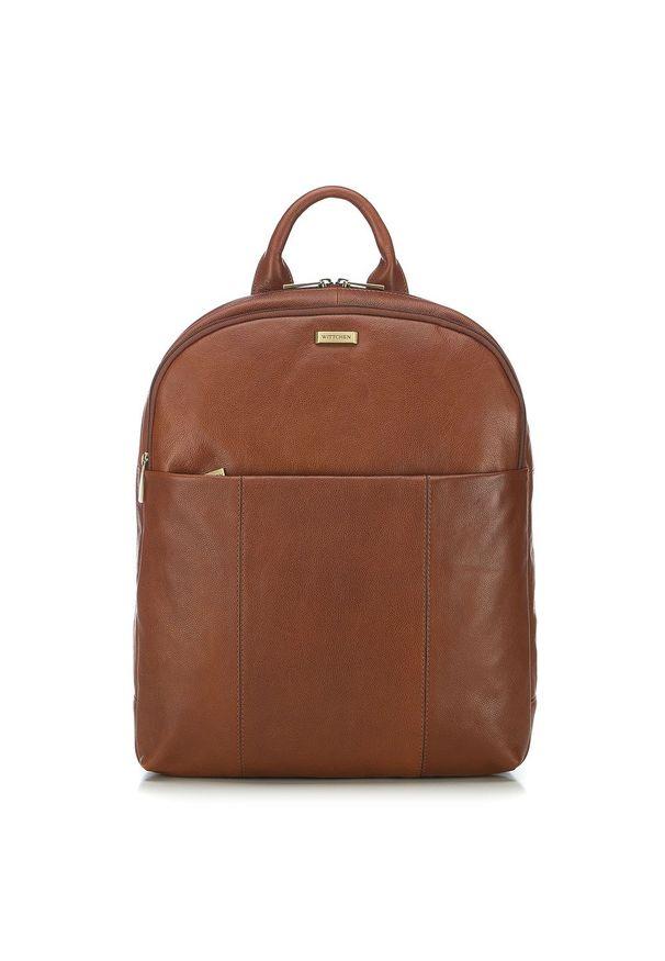 "Wittchen - Męski plecak na laptopa 13"" skórzany. Materiał: skóra. Wzór: paski, aplikacja. Styl: casual"