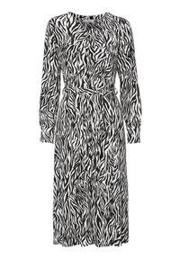 Sukienka Freequent z okrągłym kołnierzem, z długim rękawem, z motywem zwierzęcym
