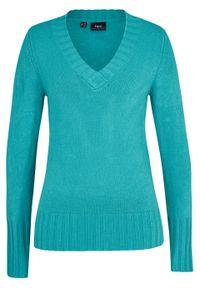 Sweter z dekoltem w serek bonprix zieleń morska. Typ kołnierza: dekolt w serek. Kolor: zielony