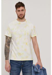Guess - T-shirt. Okazja: na co dzień. Kolor: żółty. Materiał: dzianina, bawełna. Wzór: nadruk. Styl: casual #1