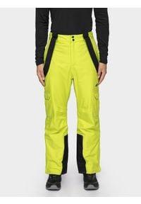 4f - Spodnie narciarskie męskie. Kolor: żółty. Materiał: poliester. Sezon: zima. Sport: narciarstwo