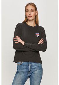 Czarna bluzka z długim rękawem Tommy Jeans z nadrukiem, casualowa, na co dzień