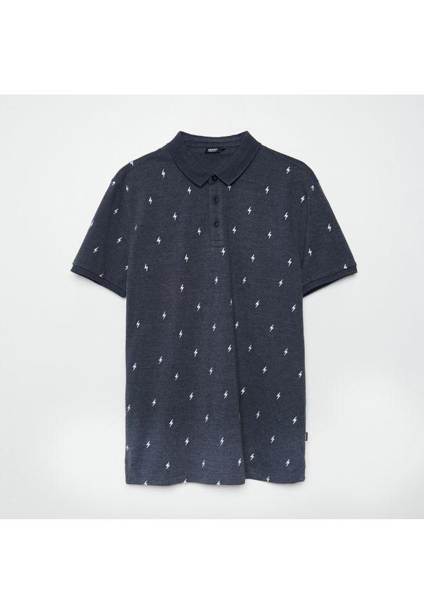 Cropp - Koszulka polo z haftem - Szary. Typ kołnierza: polo. Kolor: szary. Wzór: haft