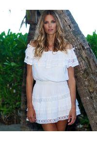 Melissa Odabash - MELISSA ODABASH - Biała sukienka mini Melody. Kolor: biały. Materiał: koronka, bawełna. Wzór: koronka. Długość: mini