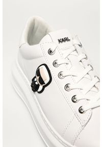 Białe buty sportowe Karl Lagerfeld z okrągłym noskiem, z cholewką