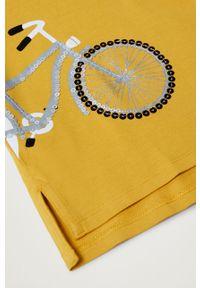 Żółta bluzka z długim rękawem Mango Kids z okrągłym kołnierzem, casualowa, z aplikacjami