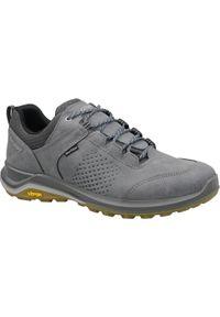 Szare buty trekkingowe Grisport w kolorowe wzory, z cholewką