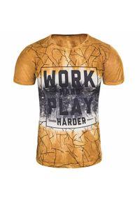 Pomarańczowy t-shirt z nadrukiem Recea na co dzień, casualowy