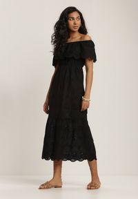 Renee - Czarna Sukienka Menilophi. Kolor: czarny. Materiał: bawełna. Wzór: haft. Styl: boho. Długość: midi