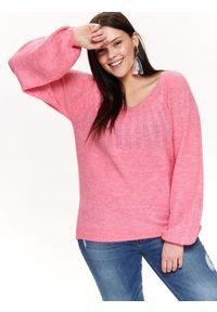 Różowy sweter TOP SECRET z okrągłym kołnierzem, na co dzień, na lato, casualowy
