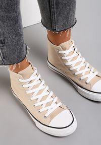 Renee - Beżowe Trampki Echimene. Wysokość cholewki: za kostkę. Nosek buta: okrągły. Kolor: beżowy. Materiał: materiał, guma. Szerokość cholewki: normalna. Wzór: gładki. Styl: klasyczny