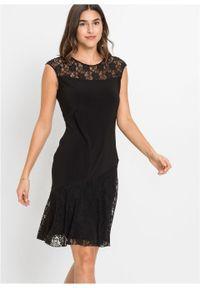 Sukienka z dżerseju z koronką bonprix czarny. Okazja: na imprezę. Kolor: czarny. Materiał: jersey, koronka. Wzór: koronka. Styl: elegancki #2