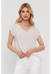 Nissa - NISSA - T-shirt. Okazja: na co dzień. Kolor: biały. Materiał: dzianina. Wzór: gładki. Styl: casual