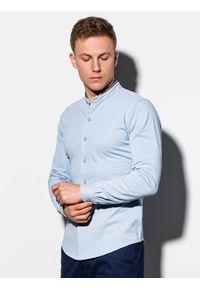 Niebieska koszula Ombre Clothing ze stójką, z długim rękawem, długa