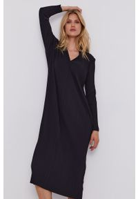 Max Mara Leisure - Sukienka. Okazja: na co dzień. Kolor: czarny. Materiał: dzianina. Długość rękawa: długi rękaw. Wzór: gładki. Typ sukienki: proste. Styl: casual