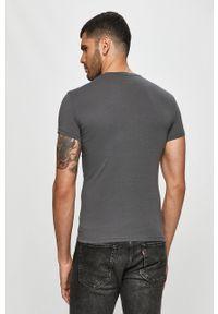 Szary t-shirt Emporio Armani na co dzień, casualowy, z nadrukiem