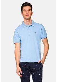 Lancerto - Koszulka Jasnoniebieska Polo Patrick. Typ kołnierza: polo. Kolor: niebieski. Materiał: bawełna, tkanina. Wzór: ze splotem, gładki. Sezon: lato