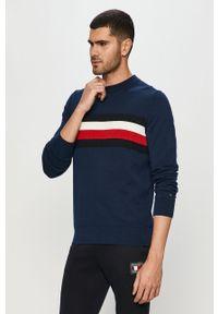 Niebieski sweter TOMMY HILFIGER z aplikacjami, na co dzień, casualowy