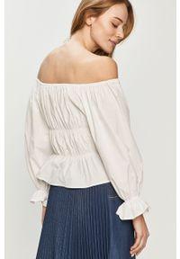 Biała bluzka na co dzień, casualowa, gładkie