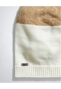 FAY - Biało-beżowa czapka. Kolor: biały. Materiał: tkanina. Wzór: aplikacja. Sezon: jesień, zima