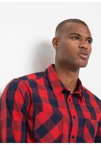 Koszula z długim rękawem, Slim Fit bonprix czerwony sygnałowy - ciemnoniebieski w kratę. Kolor: czerwony. Długość rękawa: długi rękaw. Długość: długie