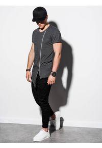 Ombre Clothing - T-shirt męski bez nadruku S1217 - grafitowy - XXL. Kolor: szary. Materiał: dzianina, bawełna, poliester