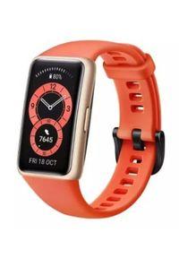 HUAWEI - Opaska sportowa Huawei Band 6 czerwony. Rodzaj zegarka: cyfrowe. Kolor: czerwony. Materiał: włókno. Styl: sportowy