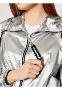 Srebrna kurtka przejściowa Karl Lagerfeld z dekoltem karo