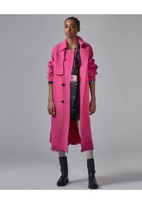 Ermanno Firenze - ERMANNO FIRENZE - Różowy płaszcz z wełny. Kolor: różowy, wielokolorowy, fioletowy. Materiał: wełna