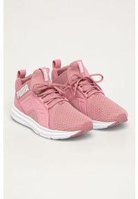 Różowe buty sportowe Puma na sznurówki, z cholewką, na obcasie, z okrągłym noskiem