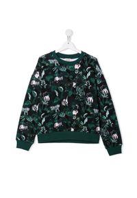 Kenzo kids - KENZO KIDS - Zielona bluza w roślinny print. Kolor: czarny. Materiał: bawełna. Długość rękawa: długi rękaw. Długość: długie. Wzór: nadruk