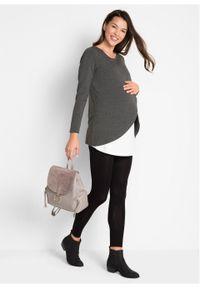 Komplet dla ciężarnych i karmiących bonprix antracytowy melanż + czarny. Kolekcja: moda ciążowa. Kolor: czarny. Wzór: melanż