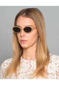 SELF PORTRAIT - Beżowe okulary przeciwsłoneczne. Kolor: beżowy. Materiał: materiał