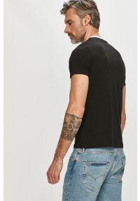 Czarny t-shirt Karl Lagerfeld z nadrukiem, na co dzień