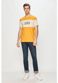 Żółty t-shirt GAP casualowy, na co dzień, z nadrukiem