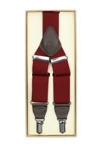 Lancerto - Szelki Czerwone w Jodełkę. Kolor: czerwony. Materiał: syntetyk, skóra, materiał, elastan. Wzór: jodełka