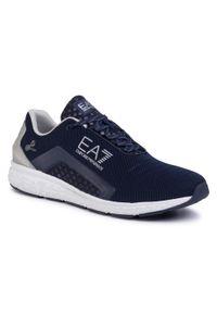 Niebieskie półbuty EA7 Emporio Armani klasyczne, z cholewką
