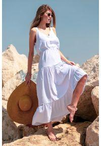 Biała sukienka wizytowa Fobya na lato, maxi, z falbankami