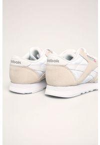 Beżowe buty sportowe Reebok Classic Reebok Nylon, na obcasie, na sznurówki, z cholewką