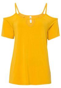 Shirt off-shoulder z przyjaznej dla środowiska wiskozy bonprix żółty szafranowy. Kolor: żółty. Materiał: wiskoza