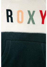 Niebieska bluza Roxy z okrągłym kołnierzem, z aplikacjami, na co dzień, casualowa
