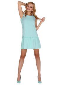 Merribel - Miętowa Sukienka z Obniżonym Stanem Wiązana na Plecach. Kolor: miętowy. Materiał: wiskoza, elastan