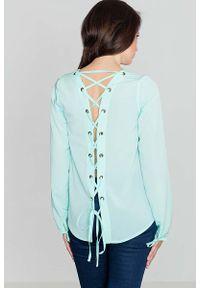 Miętowa bluzka z długim rękawem Katrus z dekoltem na plecach